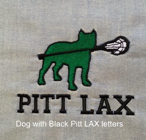 Dog with Black Pitt LAX letters